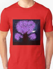 Violet fantasy tree at night T-Shirt