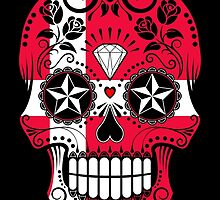 Sugar Skull with Roses and Flag of Denmark by Jeff Bartels