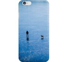 Man, dog, frozen lake iPhone Case/Skin