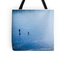 Man, dog, frozen lake Tote Bag