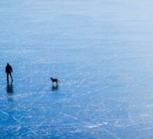 Man, dog, frozen lake Sticker