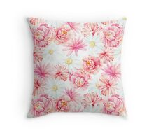 Watercolor mixed flowers  Throw Pillow