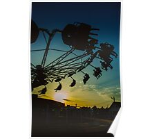 Amusement park sunset Poster