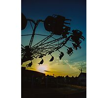 Amusement park sunset Photographic Print
