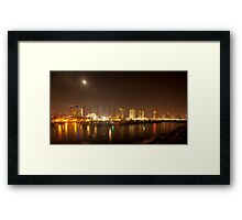 Tel Aviv skyline and yacht marina at night Framed Print