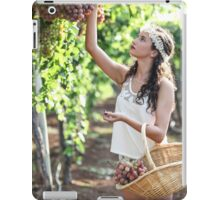 Young Teen girl in white dress picks grape in a vineyard  iPad Case/Skin