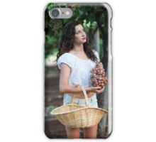 Young Teen girl in white dress picks grape in a vineyard  iPhone Case/Skin