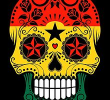 Sugar Skull with Roses and Flag of Ghana by Jeff Bartels