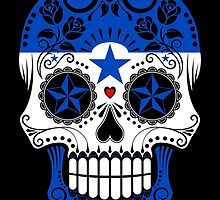 Sugar Skull with Roses and Flag of Honduras by Jeff Bartels