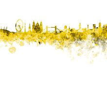 London skyline in yellow watercolor on white background by paulrommer