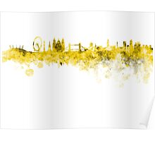 London skyline in yellow watercolor on white background Poster