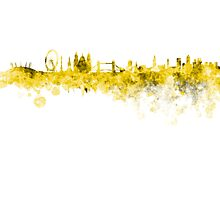London skyline in yellow watercolor on white background Photographic Print