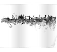 London skyline in black watercolor on white background Poster