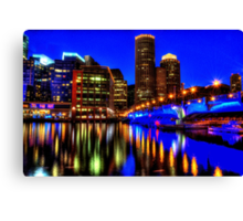 Night of Blue - Fort Point Channel, Boston Canvas Print