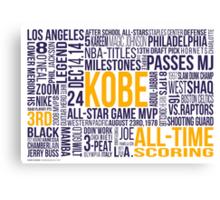 Los Angeles Lakers - Kobe Bryant Typography Design  Canvas Print