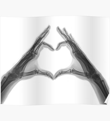 X-ray of hands forming a heart shape Poster