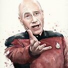 Annoyed Picard Meme Watercolor by OlechkaDesign