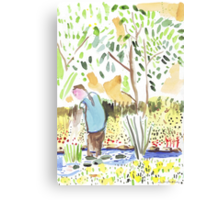 The Council Worker Clearing the Pond Canvas Print