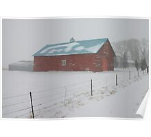 Snowy Day on the Farm Poster