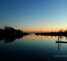 Evening View On Areskonk Creek From Sedgemere Road Bridge | Center Moriches, New York  by © Sophie W. Smith
