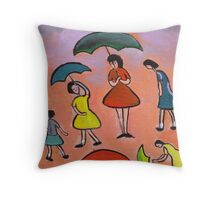 Children with brollys Throw Pillow