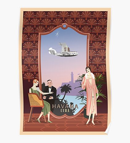 Art Deco Flying Boat - Havana, Cuba Poster
