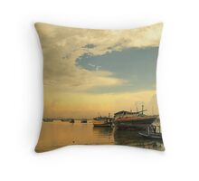 Traditional harbour in Kamal, Madura Island in Indonesia Throw Pillow