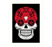 Sugar Skull with Roses and Flag of Indonesia Art Print