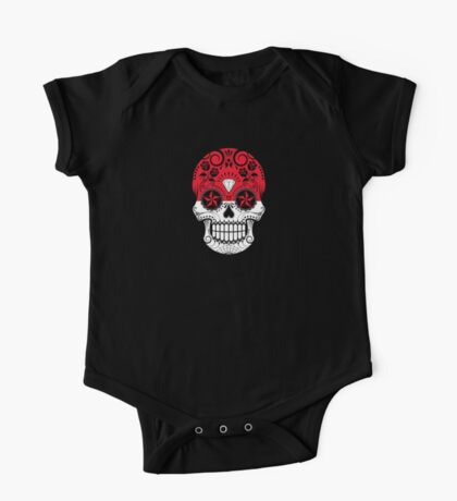 Sugar Skull with Roses and Flag of Indonesia One Piece - Short Sleeve