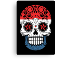 Sugar Skull with Roses and Flag of Netherlands Canvas Print