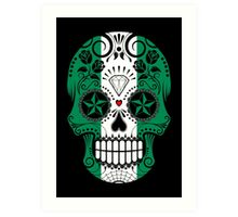 Sugar Skull with Roses and Flag of Nigeria Art Print