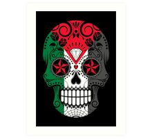 Sugar Skull with Roses and Flag of Palestine Art Print
