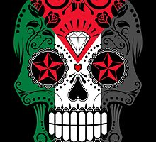 Sugar Skull with Roses and Flag of Palestine by Jeff Bartels