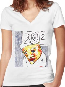 Crying Boy Women's Fitted V-Neck T-Shirt