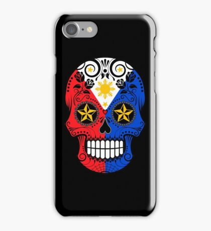 Sugar Skull with Roses and Flag of The Philippines iPhone Case/Skin