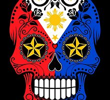 Sugar Skull with Roses and Flag of The Philippines by Jeff Bartels