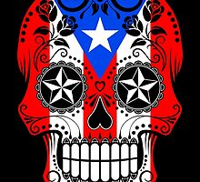 Sugar Skull with Roses and Flag of Puerto Rico by Jeff Bartels