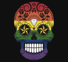 Gay Pride Rainbow Flag Sugar Skull with Roses  Kids Tee