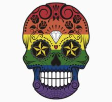 Gay Pride Rainbow Flag Sugar Skull with Roses  Kids Tee