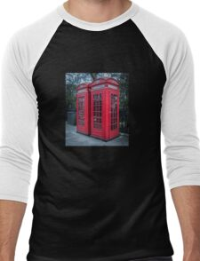 Classic London Telephone Booths Men's Baseball ¾ T-Shirt
