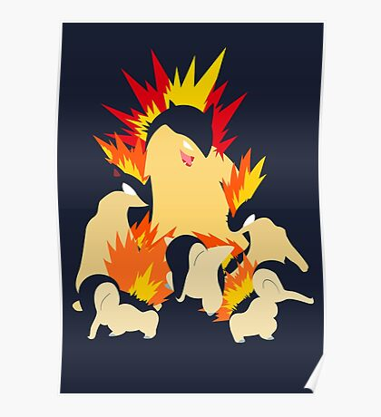 Cyndaquil - Quilava - Typhlosion Poster