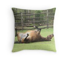 The Playful Mare Throw Pillow