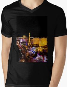The Strip, at night Las Vegas, Nevada, USA Mens V-Neck T-Shirt