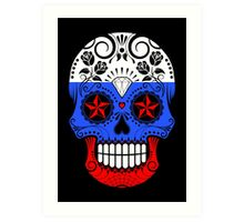 Sugar Skull with Roses and Flag of Russia Art Print