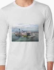 Aerial view of Manhattan, New York City, NY USA  Long Sleeve T-Shirt