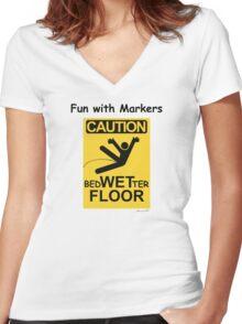 Caution Wet Floor - Spoof / Vandalism Women's Fitted V-Neck T-Shirt