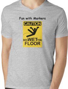 Caution Wet Floor - Spoof / Vandalism Mens V-Neck T-Shirt