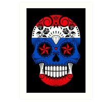 Sugar Skull with Roses and Flag of Thailand Art Print