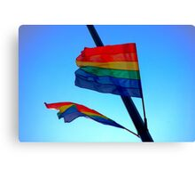 Gay Flag on blue sky background Canvas Print