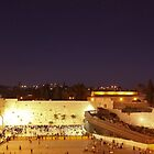 Panoramic night view of the Wailing Wall, Jerusalem.  by PhotoStock-Isra